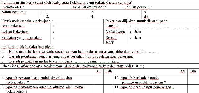 Work Permit Ijin Kerja K3 Runner Dan Goweser Jogja