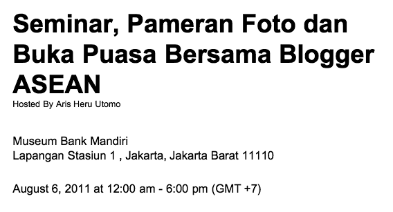 Pameran Foto dan Talkshow Asean Blogger