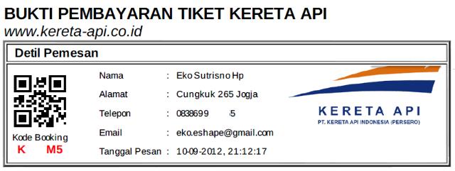 bukti bayar tiket KA