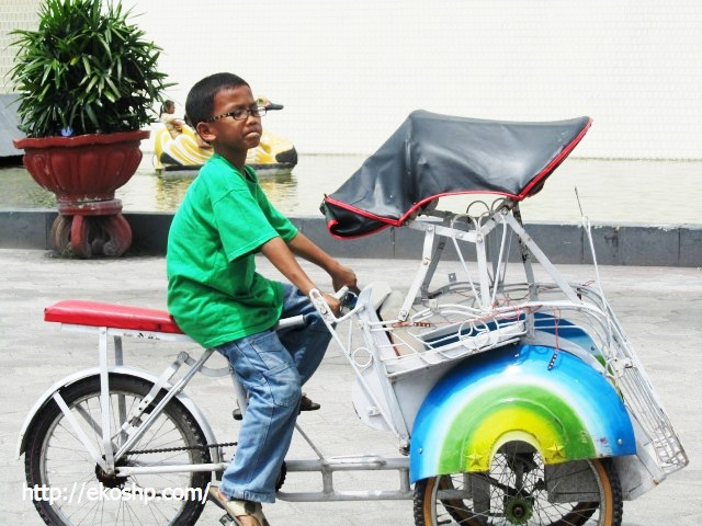 Becak mini yang laris di Monjali dan Alkid
