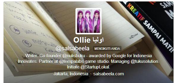 Akun twitter Salsabeela