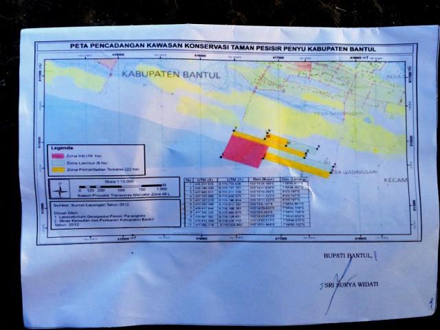 Peta pencadangan Kawasan Konservasi Taman Pesisir Penyu Kabupaten Bantul