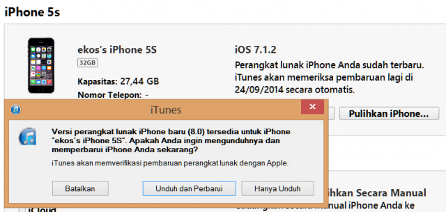 Upgrade ke iOS 8
