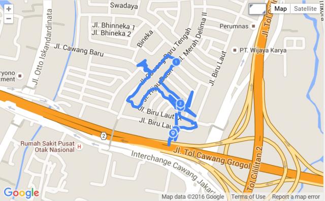 Jalan kaki via Endomondo